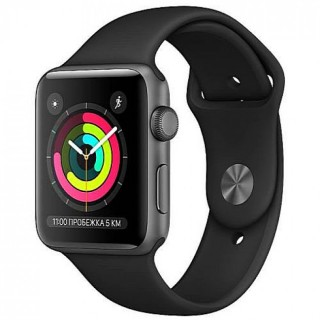 Apple WATCH Series 3, 42mm Space Grey Aluminium Case with Black Sport Band (MTF32)