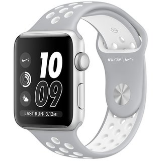 Watch Apple Watch Nike+ 42mm Silver Aluminum Case with Silver/White Nike Sport Band (MNNT2)