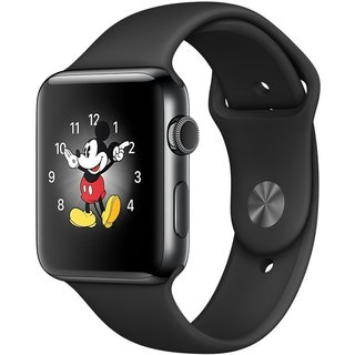 Watch Apple Watch Series 2 42mm Space Black Stainless Steel Case with Black Sport Band (MP4A2)