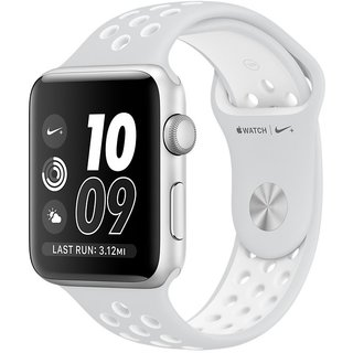 Watch Apple Watch Nike+ 42mm Silver Aluminum Case with Pure Platinum/White Nike Sport Band (MQ192)