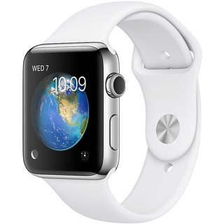 Watch Apple Watch Series 2 38mm Stainless Steel Case with White Sport Band (MNP42)