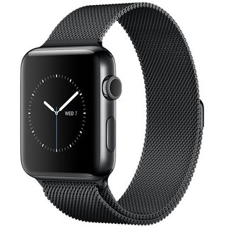 Watch Apple Watch Series 2 38mm Space Black Stainless Steel Case with Space Black Milanese Loop Band (MNPE2)