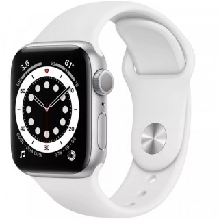 Apple Watch Series 6 GPS 44mm Silver with White Sport Band (M00D3)