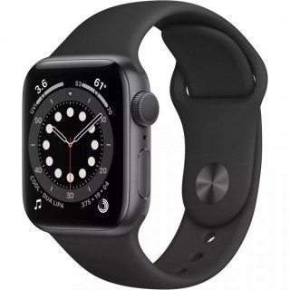 Apple Watch Series 6 GPS 44mm Space Gray with Black Sport Band (M00H3)